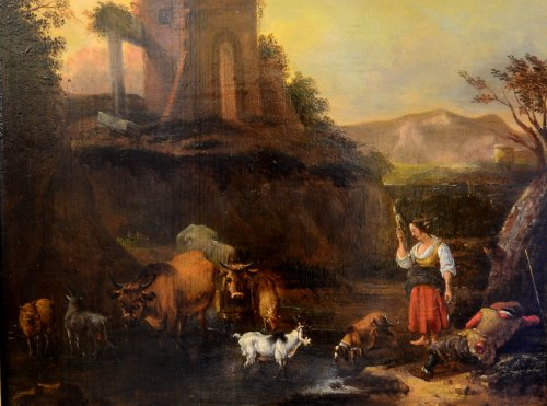 Landscape with herds, oil on panel, second half of the seventeenth century -