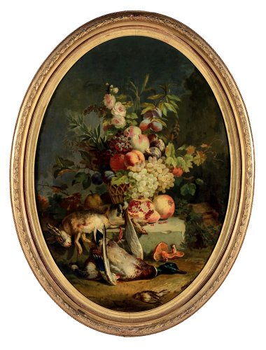 Still life with flowers, fruits and wild game, French school, XIXth Century