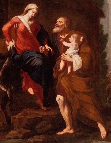 Giuseppe Passeri (Rome, 1654 - 1714) - Rest During The Flight In Egypt - Paintings & Drawings Style