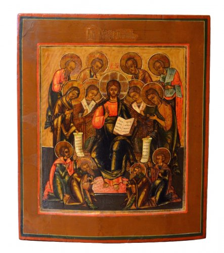 """Russian Icon depicting """"the Deesis"""", Moscow School, 18th Century"""