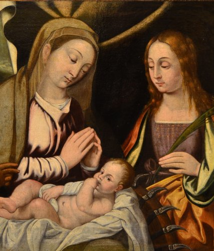 Virgin with Child and Saints - Attributed to Francesco Da Santacroce (1500-1547) -