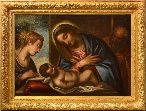 Luca Cambiaso (1527 - 1585) Workshop, Holy Family with Saint Catherine