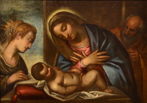 Antiquités - Luca Cambiaso (1527 - 1585) Workshop, Holy Family with Saint Catherine