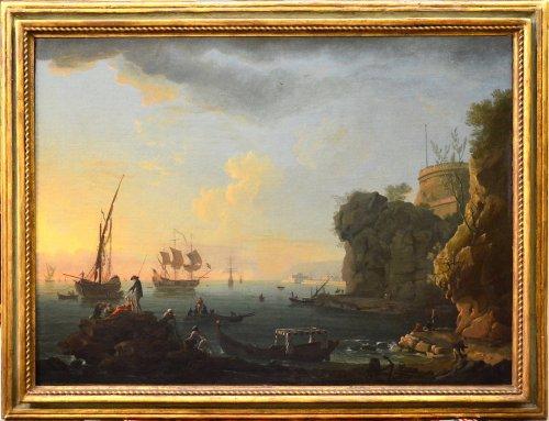 Paintings & Drawings  - Port landscape - Workshop of Charles François Lacroix of Marseille (1700 - 1782)