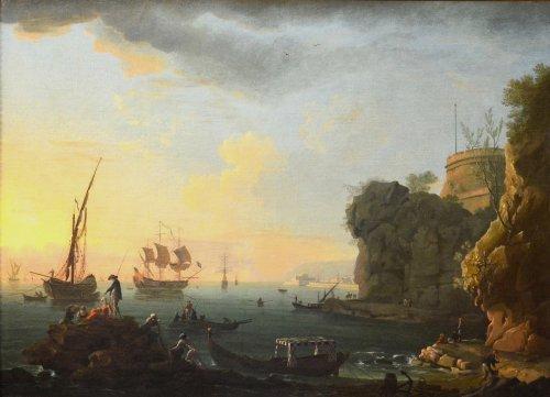 Port landscape - Workshop of Charles François Lacroix of Marseille (1700 - 1782) -