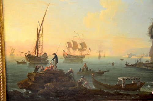 18th century - Port landscape - Workshop of Charles François Lacroix of Marseille (1700 - 1782)