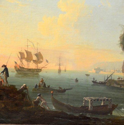 - Port landscape - Workshop of Charles François Lacroix of Marseille (1700 - 1782)