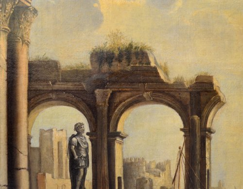 Landscape with Ruins- workshop of Pietro Cappelli (Naples 1646-1734)  - Paintings & Drawings Style