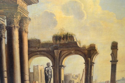 Paintings & Drawings  - Landscape with Ruins- workshop of Pietro Cappelli (Naples 1646-1734)