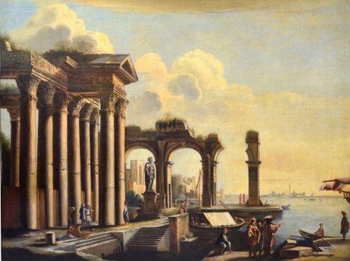 Antiquités - Landscape with Ruins- workshop of Pietro Cappelli (Naples 1646-1734)