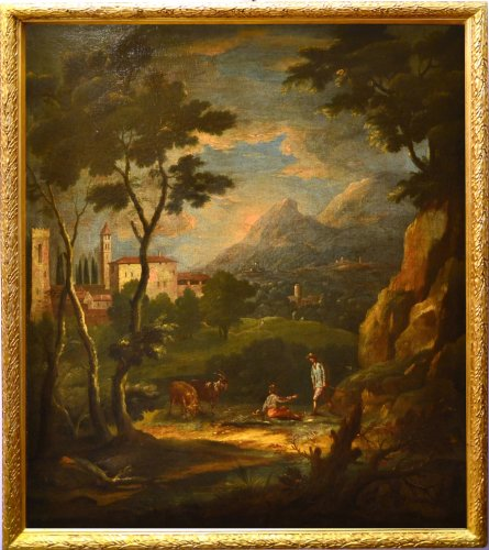 Bucolic Landscape  - workshop of Bartolomeo Pedon (Venice, 1665-1732),