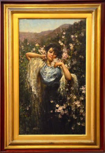Salvatore Postiglione (Naples 1861 - 1906) - Young woman with flowers