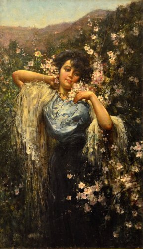 Salvatore Postiglione (Naples 1861 - 1906) - Young woman with flowers - Paintings & Drawings Style Art nouveau