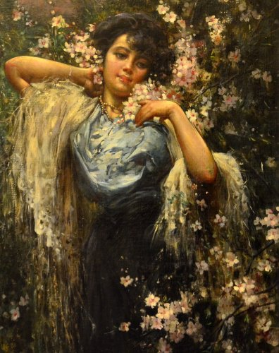 Paintings & Drawings  - Salvatore Postiglione (Naples 1861 - 1906) - Young woman with flowers