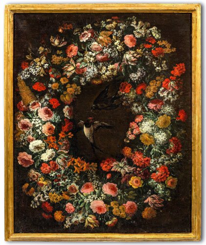 Attributed to Niccolò Stanchi (Rome, 1623 -1690) - Garland of Flowers