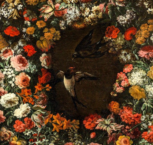 Niccolò Stanchi (Rome 1623 -1690) - Garland of Flowers - Paintings & Drawings Style Louis XIV
