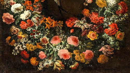 Paintings & Drawings  - Niccolò Stanchi (Rome 1623 -1690) - Garland of Flowers