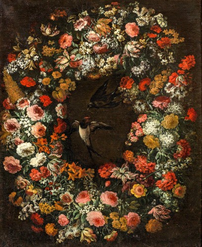 17th century - Niccolò Stanchi (Rome 1623 -1690) - Garland of Flowers