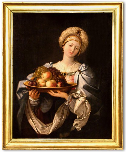 Portrait Of Woman With Fruit  - Workshop of Guido Reni (1575 - 1642)