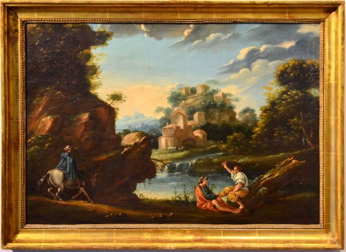 Landscape with figures by the lake - Circle of Jan Frans Van Bloemen