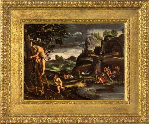 Giovanni Francesco Grimaldi (1606 - 1680) - Landscape with Adam and Eve