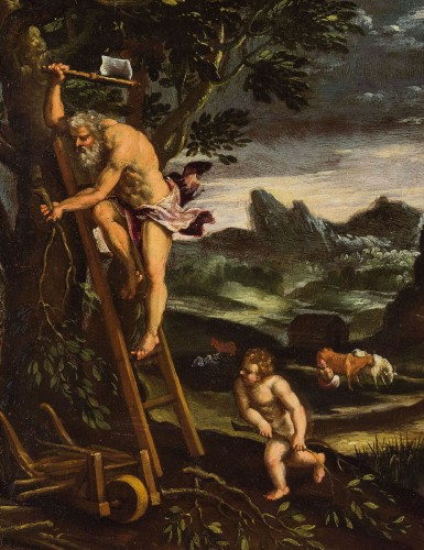 Giovanni Francesco Grimaldi (1606 - 1680) - Landscape with Adam and Eve - Paintings & Drawings Style Louis XVI