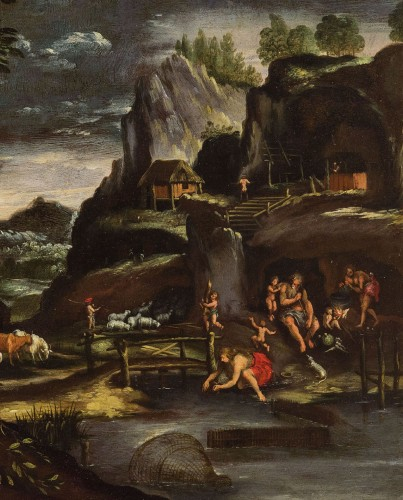 Paintings & Drawings  - Giovanni Francesco Grimaldi (1606 - 1680) - Landscape with Adam and Eve