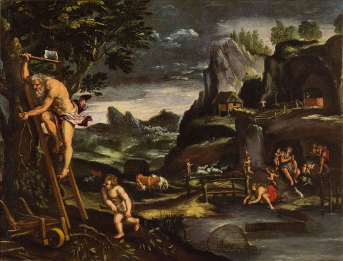 17th century - Giovanni Francesco Grimaldi (1606 - 1680) - Landscape with Adam and Eve