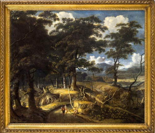 Wooded landscape with wayfarers and village in the distance - Jan Looten (1618-1681)