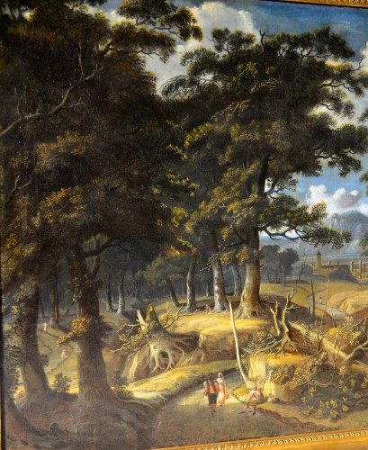 Paintings & Drawings  - Wooded landscape with wayfarers and village in the distance - Jan Looten (1618-1681)