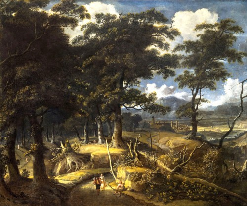 Wooded landscape with wayfarers and village in the distance - Jan Looten (1618-1681) -
