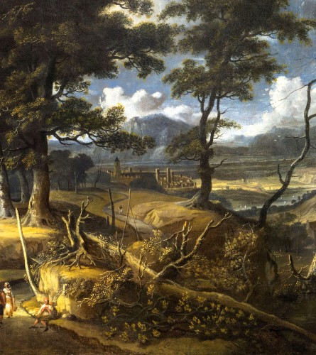 17th century - Wooded landscape with wayfarers and village in the distance - Jan Looten (1618-1681)