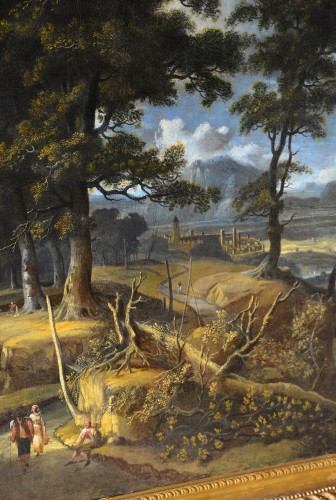 - Wooded landscape with wayfarers and village in the distance - Jan Looten (1618-1681)