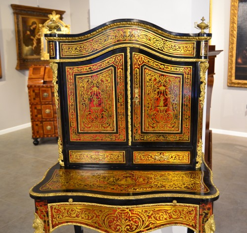 "Bonheur de jour Napoléon III, ""Boulle"" style inlay - Furniture Style Napoléon III"
