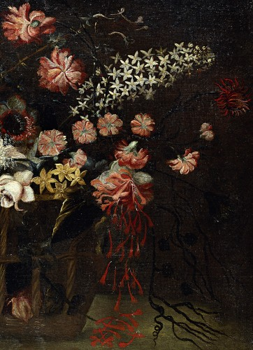 Still life with a basket of flowers - Felice Fortunato Biggi (1650 - 1700) - Paintings & Drawings Style Louis XIV