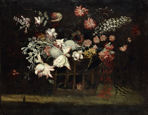 Paintings & Drawings  - Still life with a basket of flowers - Felice Fortunato Biggi (1650 - 1700)