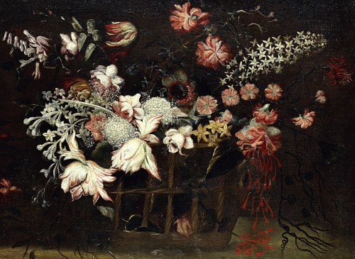 Still life with a basket of flowers - Felice Fortunato Biggi (1650 - 1700) -