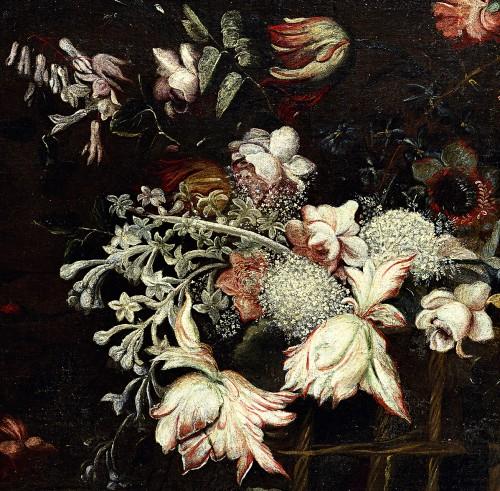 17th century - Still life with a basket of flowers - Felice Fortunato Biggi (1650 - 1700)