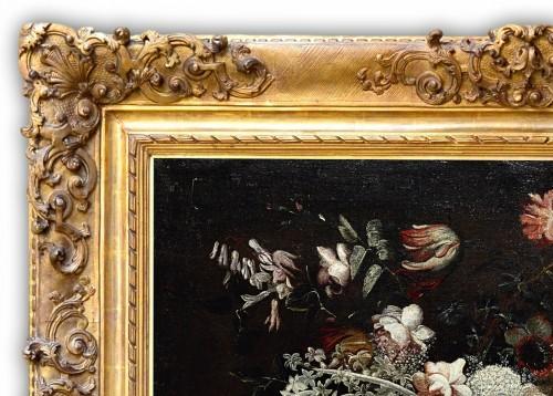 Still life with a basket of flowers - Felice Fortunato Biggi (1650 - 1700) - Louis XIV