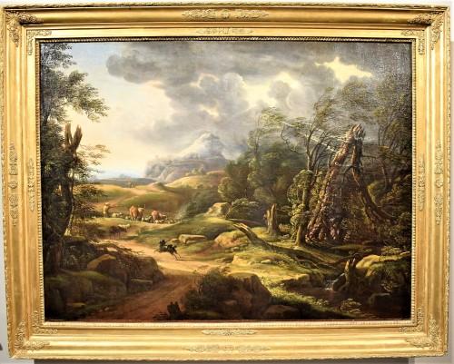 Carlo Antonio Tavella (1668 -1738) - Animated landscape - Paintings & Drawings Style