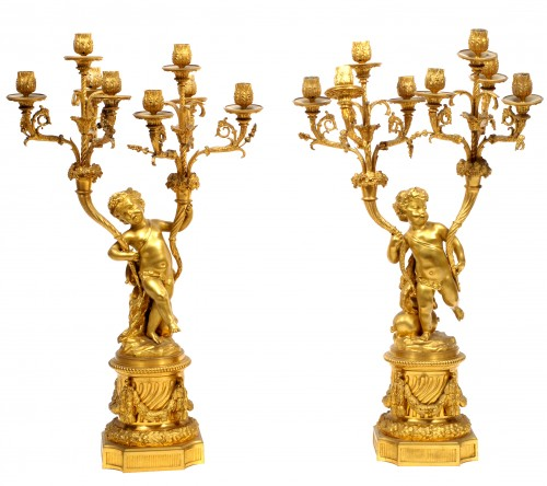 Clocks  - Victor Paillard (1830 - 1886) - Gilt-bronze three piece clock garniture