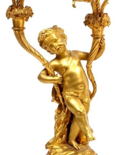 Victor Paillard (1830 - 1886) - Gilt-bronze three piece clock garniture -