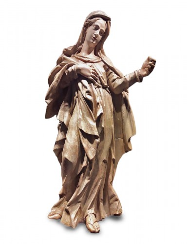 Sculpted wooden sculpture of the 16th Century - Madonna