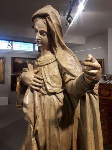 Sculpted wooden sculpture of the 16th Century - Madonna - Renaissance