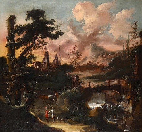 Fantastic landscape at sunset  - Venetian school of the 18th century