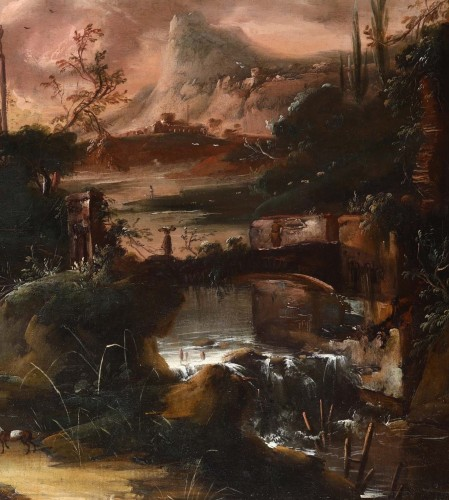 Paintings & Drawings  - Fantastic landscape at sunset - Flemish school of the seventeenth century