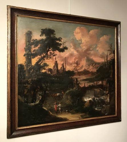 Fantastic landscape at sunset - Flemish school of the seventeenth century -