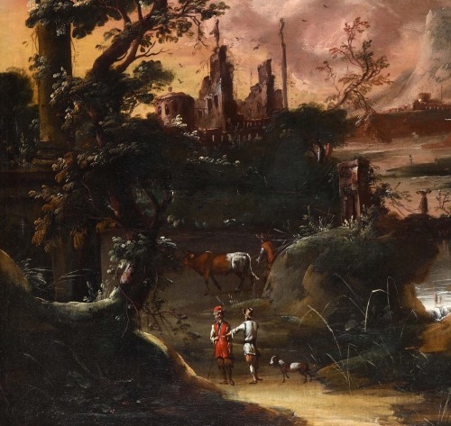 17th century - Fantastic landscape at sunset - Flemish school of the seventeenth century