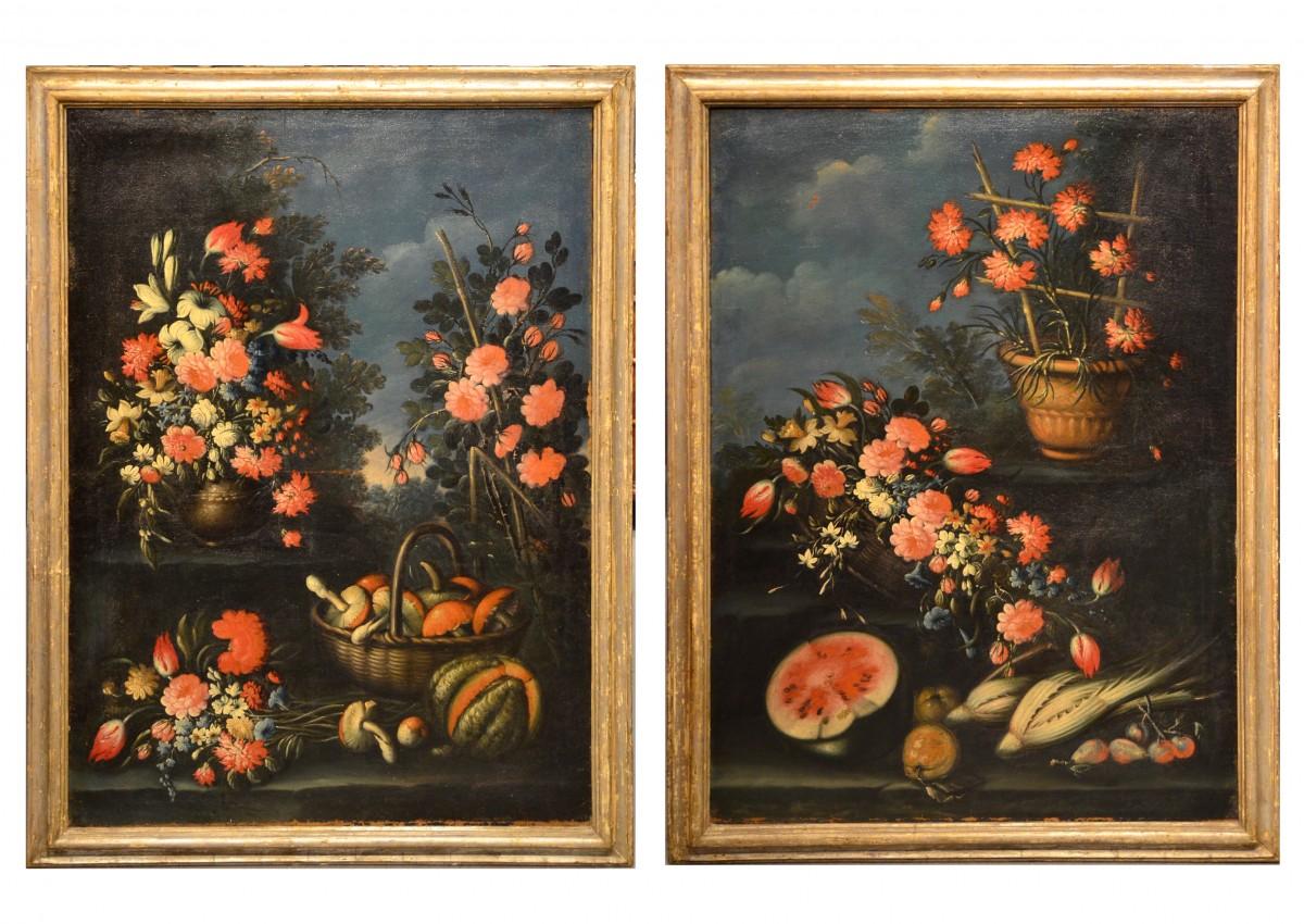 Francesco Lavagna (1684 , 1724) , Paire de natures mortes de fleurs dans un