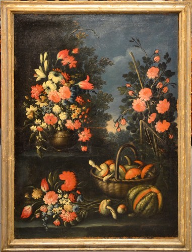 Pair of still lifes of flowers in a garden - Francesco Lavagna (1685 -1724) - Paintings & Drawings Style Louis XVI